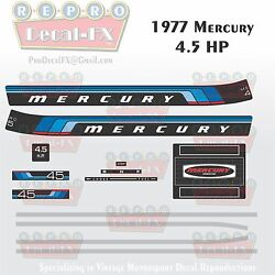 1977 Mercury 4.5hp Outboard Reproduction 13 Pc Marine Vinyl Decals Four Andfrac12 Horse