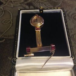 18k Antique Boucheron Ruby Watch unique Brooch 1920-30's era