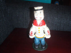 Extremely Rare Old Popeye Standing Heavy Metal Piggy Bank Small Figurine Statue