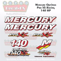 Mercury Marine Racing Optimax Pro Xs 140hp Outboard Reproduction Decals 9 Pc
