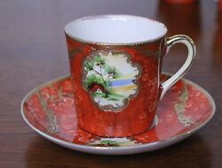 Vintage Hand Painted Malko China Occupied Japan Set Of 10 Cups And 12 Saucer