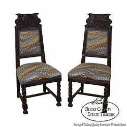 Antique 19th Century Carved Eagle Barley Twist Pair Of Side Chairs A