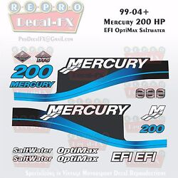 1999-04 Mercury 200hp Blue Decals Efi Optimax Saltwater 15pc Repro Outboard 2004