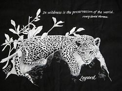 Orig 80s Leopard Henry David Thoreau Wilderness Quote T Shirt L Deadstock NOS