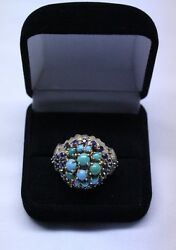 14k Yellow Gold Victorian Antique Ring Turquoise And Navy Diamonds Size 9