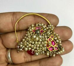 Vintage Antique Ethnic Tribal Solid 20k Gold Pearl Jewelry Nose Ring Nath India