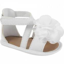 Baby Deer White Sandal with Chiffon Flower  Size 1 2 3