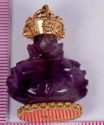 18k Yellow Gold Amethyst Buddha Pendant With Gold Crown And Base
