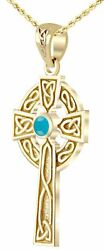 Solid 14k Yellow Gold Irish Celtic Knot Cross Genuine Turquoise Pendant Necklace