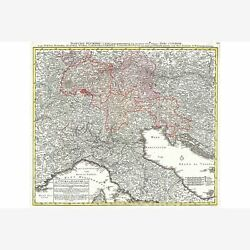 Map Of Northern Italy Antique Map Historic Cartography By Homan, 1720
