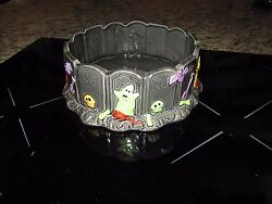 Fitz And Floyd Halloween Harvest Graveyard Ghost Ghouls Candy Treat Dish Free Ship