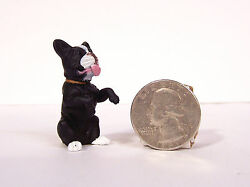 New Small Black White Boston Terrier Dog 1.25quot; Figure Figurine Diorama