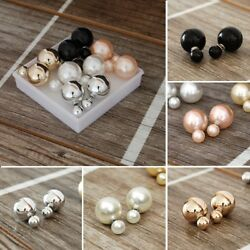 5 pairs Double sided Faux Pearl Earrings
