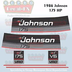 1986 Johnson 175 Hp V6 Sea-horse Outboard Reproduction 6 Pc Marine Vinyl Decals