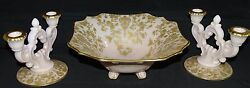 Cambridge Usa Rose Point Crown Tuscan Console / Centerpiece Set -gold Encrusted