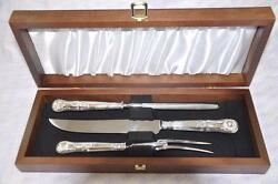 Mappin And Webb Kings Pattern Sterling Silver Carving Set Sheffield England 1907