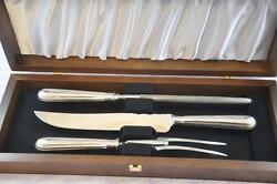 Fantastic Old English Thread Sterling Silver Carving Set Sheffield England 1905
