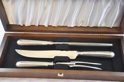 Great Old English Thread Sterling Silver Carving Set Sheffield England 1905