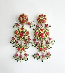 Vintage Antique Solid 18k Gold Jewelry Ruby Emerald Gemstones Earring Pair India