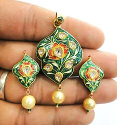 Vintage Antique Solid 18k Gold Jewelry Diamond Enamel Pendant And Earring Pair