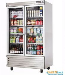 Everest Ebgnr2 39-3/8 Two Section Glass Door Upright Reach-in Refrigerator
