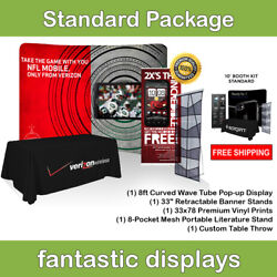 Complete Trade Show Booth 8' Backdrop, Banner Stand, Table Throw And Catalog Rack