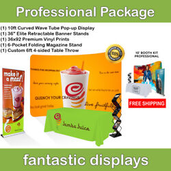 Complete Trade Show Booth 10' Backdrop, Banner Stand, Table Throw, Catalog Rack
