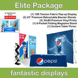 Complete Trade Show Booth 10' Pop Up, 2 Banner Stands, Table Throw, Etc
