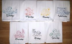 Colored Puppy Days Of The Week Machine Embroidered Flour Sack Dish Towels