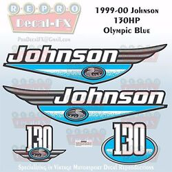 1999-00 Johnson 130 Hp Olympic Blue Outboard Reproduction 4pc Marine Vinyl Decal