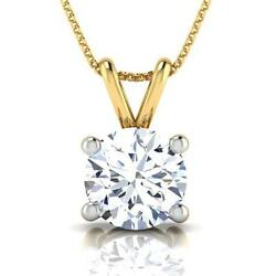 14k Yellow Gold Solitaire 1.05 Ct Si2 Round Cut Necklace 4 Prong Pendant Ladies