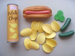 REALISTIC FAKE PLAY FOOD PROP ● MTC RUBBERY HOT DOG BUN + POTATO CHIPS + PICKLES