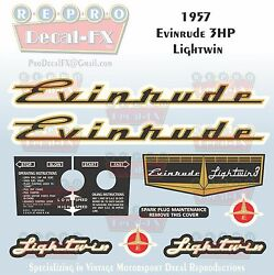 1957 Evinrude 3 Hp Lightwin Outboard Reproduction 10 Pc Vinyl Decals 3022-23-24