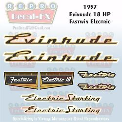 1957 Evinrude 18 Hp Fastwin Electric Outboard Repro 8pc Vinyl Decals 15918-15919