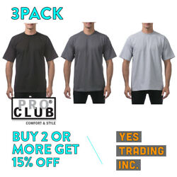 3 PACK PROCLUB PRO CLUB MENS PLAIN T SHIRT HEAVYWEIGHT SHORT SLEEVE COTTON TEE $18.90