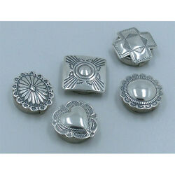 5 Pack Lot .925 Sterling Silver Stamped Concho Nickel Back Button Covers