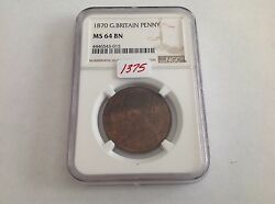1870 Great Britain Penny Ngc Ms 64 Brown