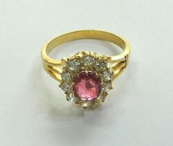 Vintage Antique Ethnic Tribal Solid 14k Gold Jewelry Ruby Diamond Gemstones Ring