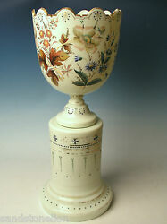 19th Century Victorian New England Glass 2 Piece Large Urn/vase Monteith Bowl