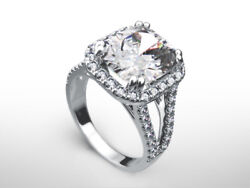 RADIANT CUT DIAMOND RING HALO ANNIVERSARY 5.1 CT 18 KT WHITE GOLD WOMENS REAL