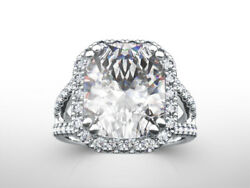18 KT WHITE GOLD 5.1 CARATS 8 PRONG HALO DIAMOND RING VVS1 ACCENTS WOMENS REAL