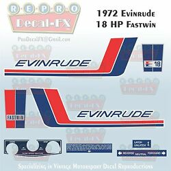1972 Evinrude 18 Hp Fastwin Outboard Repro 10 Piece Marine Vinyl Decal 18202-03