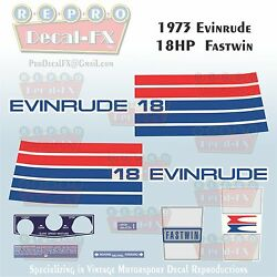 1973 Evinrude 18 Hp Fastwin Outboard Repro 10 Piece Marine Vinyl Decal 18304-05