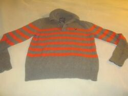 American Eagle Outfitters Mens Collared Sweater Athletic Fit Orange Gray M2492