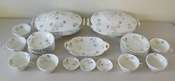 30 Pc. Rare Set Antique 1895 Theodore Haviland Limoges France Blue Floral And Gold