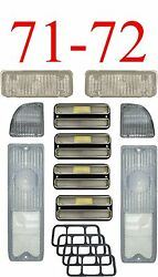 71 72 Chevy 10pc All Clear Tail Light, Deluxe Side And Parking Light Kit C/k Truck