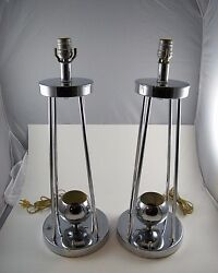 2 Vintage Torino Marked Chrome Table Lamps Pair Work Great