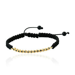 3.43ct Diamond Black Macrame Bracelet Ethnic Solid 18k Yellow Gold Jewelry GIFT
