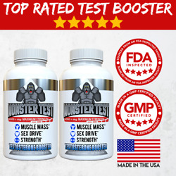 Testosterone Booster Monster Test for Men More Muscle Mass 6000 MG 2 Pack