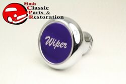 Custom Big Rig Truck Deluxe Chrome Windshield Wiper Dash Mount Knob Purple Stick